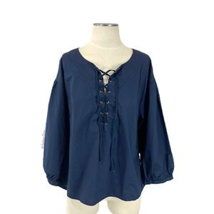 Anthropologie- HD In Paris Navy Woven Shirt Large